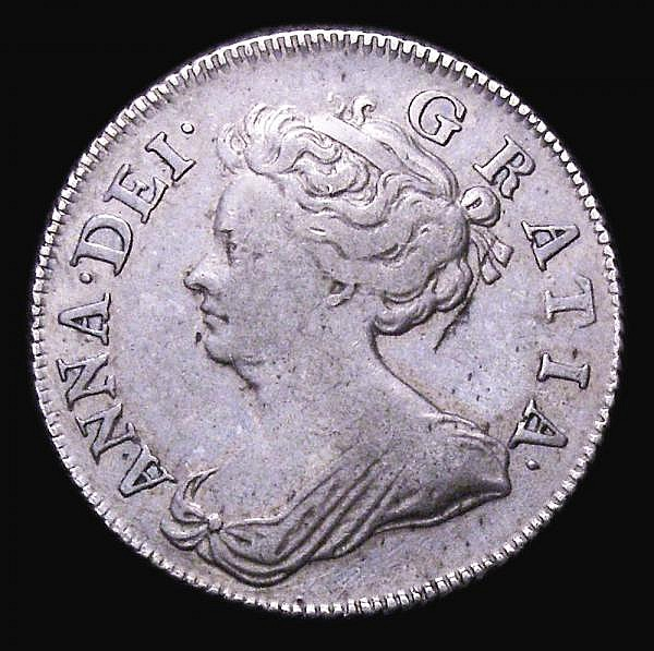 Shilling 1708 Second Bust, Roses and Plumes ESC 1146 Good Fine, the reverse better, with a pleasant and subtle tone, Very Rare in any grade, rated R3 by ESC, only the second example we have offered since 2003