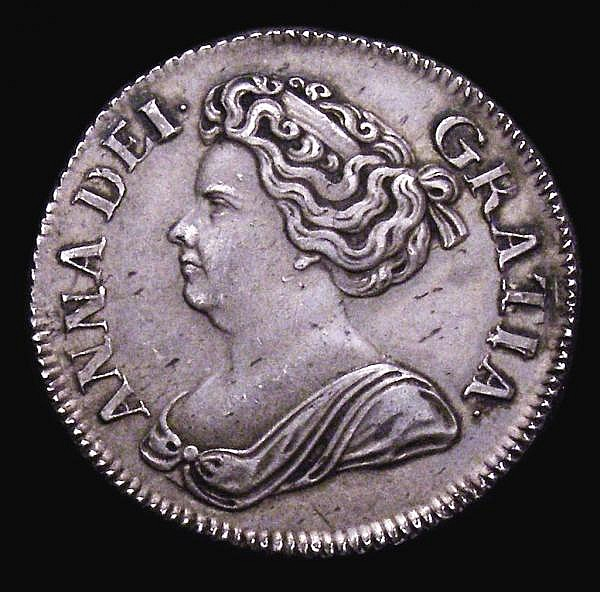 Shilling 1714 4 over 3 Roses and Plumes Bull 1413, as ESC 1161 GVF/VF toned, listed as R3 by Bull