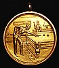 Snooker/Billiards Prize Medal  1921-1922 presented to Arthur Layne, Scunthorpe Constitutional Club, by the Grimsby Daily Telegraph, 28.5mm diameter 8.66 grammes of 9 carat gold EF in suspension mount