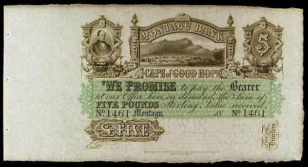 South Africa Montagu Bank, Cape of Good Hope 5 dated 18xx, unsigned remainder series No.1461, Picks231r, usual 3 tiny counterfoil staple holes at left, UNC