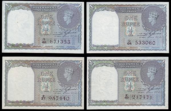 India One Rupee George VI issues (4) Pick 25 VF to EF