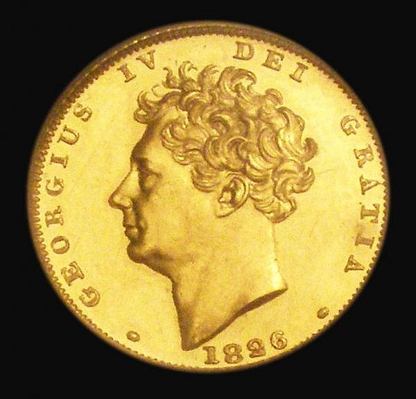 Half Sovereign 1826 Extra tuft of hair to the left of the ear, Proof S.3804A, similar to Wilson and Rasmussen 249 UNC lightly toning, PCGS PR62