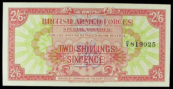 British Armed Forces 2 shilling 6 pence issued 1946, series D/8 819025, PickM12a, about UNC