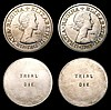 Florins Elizabeth II Florin Engraver's Trial pieces undated c.1961 (5) each with TRIAL DIE on the reverse, the obverses with the standard early Elizabeth II portrait, the legend on each coin with a different typeface, with the type face abbreviated