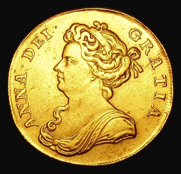 Two Guineas 1709 S.3569 GVF ex-jewellery a strong underlying grade