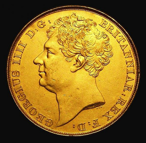 Two Pounds 1823 S.3798 GVF gilded, weight 15.63 grammes
