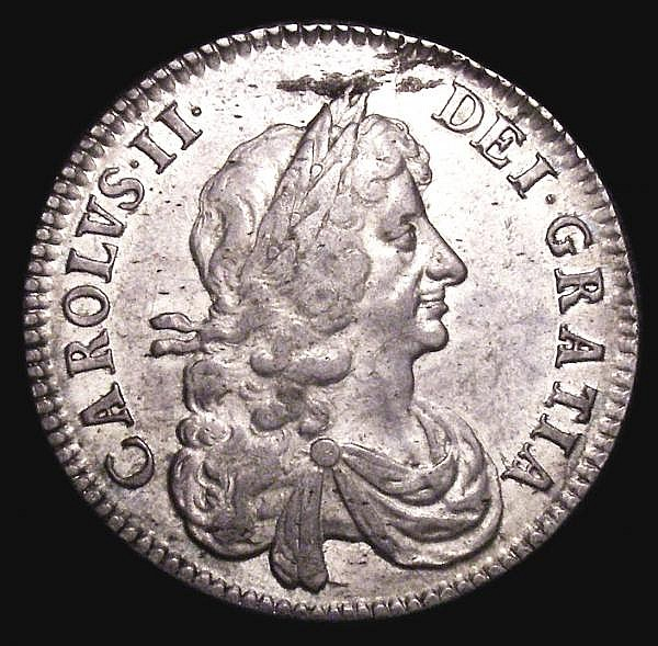Halfcrown 1670 ESC 467 NVF once cleaned now retoning, the obverse with some haymarking above the bust