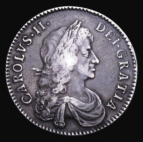 Halfcrown 1671 ESC 468 Fine or slightly better with grey tone and some light haymarking, pleasing for the grade