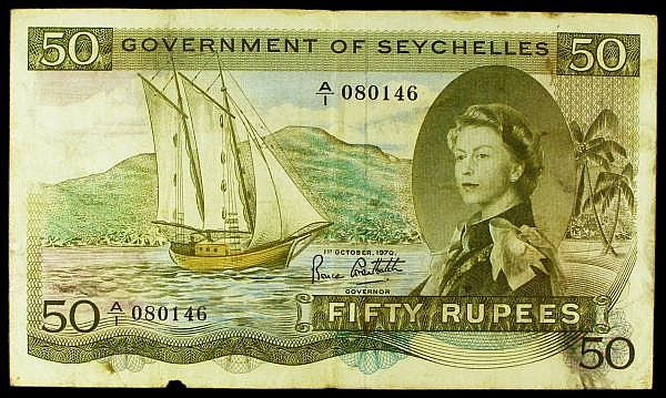 Seychelles 50 rupees dated 1st October 1970, series A/1 080146, the famous