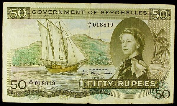 Seychelles 50 rupees dated 1st January 1968, first series A/1 018819, the famous