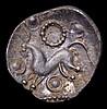 Corieltauvi.  Ar unit.  C, 40-10 BC.  Obv; Vestiges of boar.  Rev; Horse l, ring ornaments around.  VA 875-877.  1.21g.  VF
