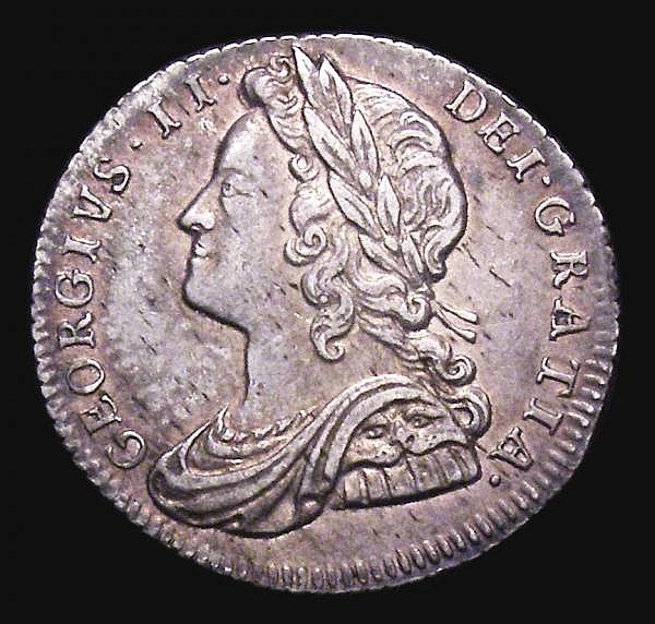 Sixpence 1728 Plumes ESC 1605 VF/GVF And attractively toned, the obverse with some light haymarks