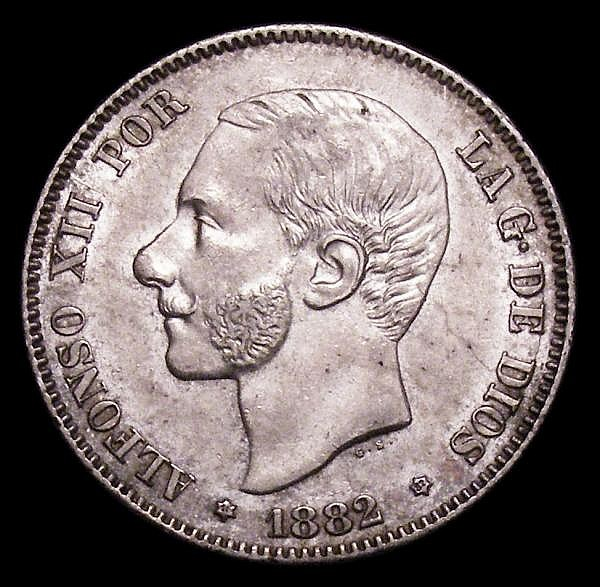 Spain 2 Pesetas 1882 (82) MS-M KM#678.2 GEF the reverse toned