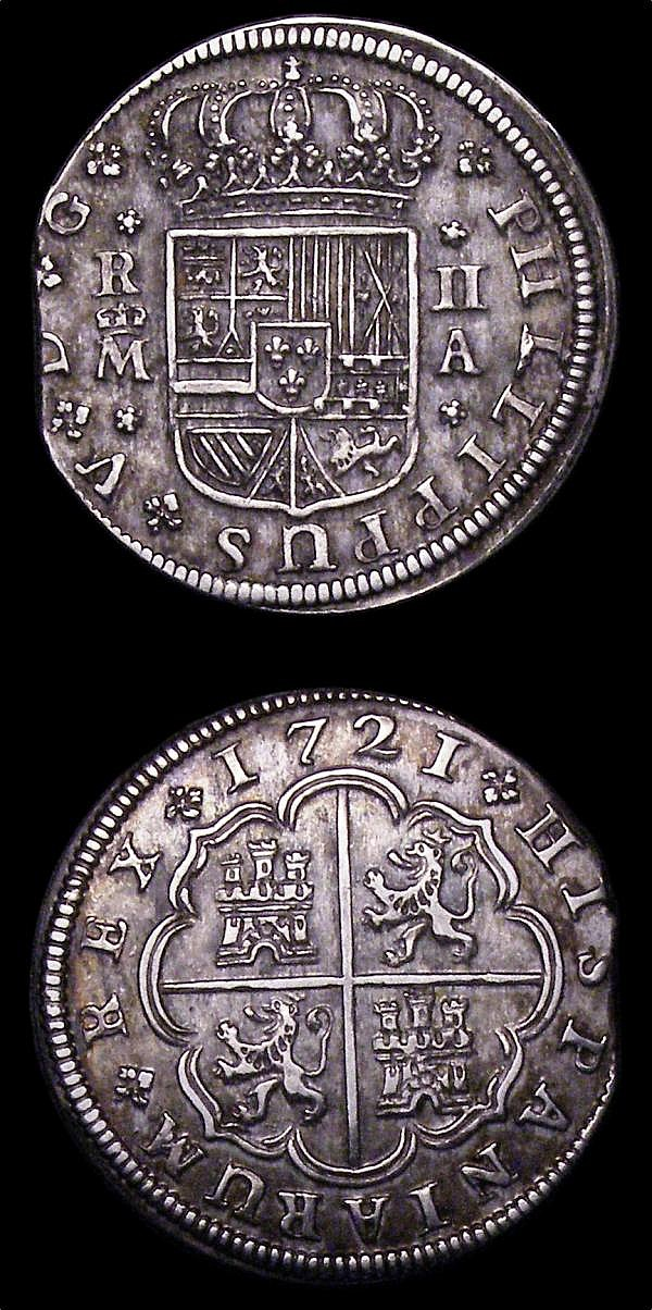 Spain 2 Reales (2) 1721A KM#296 VF toned,  the planchet flattened at the edge between 8 and 10 o'clock, 1721J KM#307 NVF/GF toned