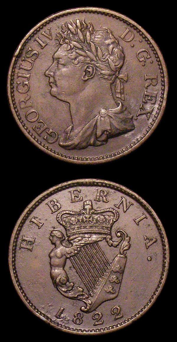 Ireland Halfpennies 1822 (2) S.6624 NEF and VF
