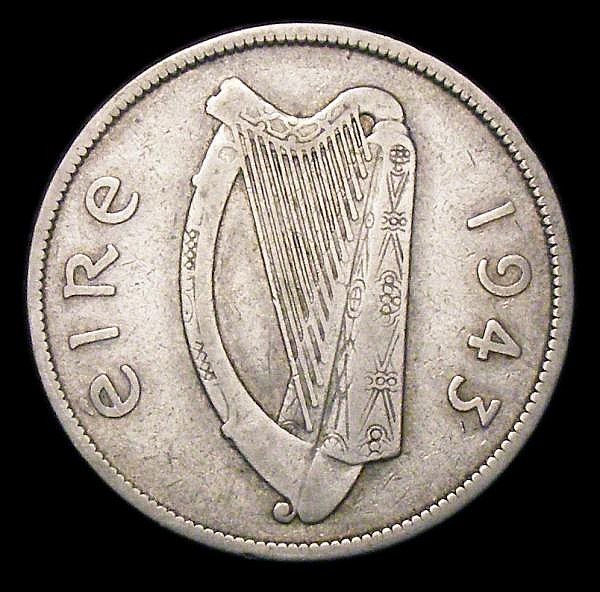 Ireland Halfcrown 1943 S.6633 VG/Near Fine a collectable example
