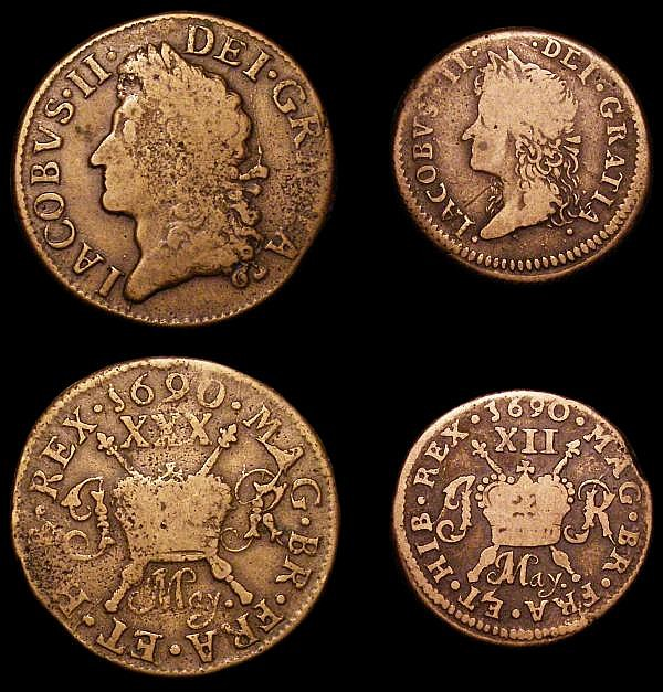 Ireland (3) Farthing 1723 Woods S.6604 Fine with some surface marks, Halfcrown Gunmoney 1690 May. S.6580B VG, Shilling Gunmoney Small Size 1690 May. S.6582D VG