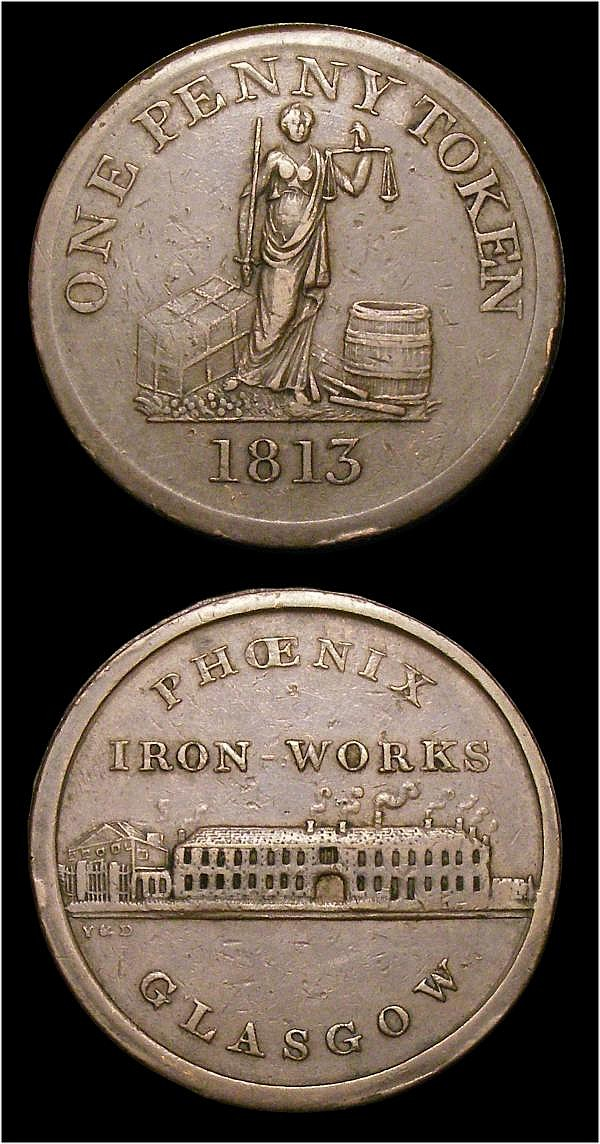 Pennies 19th Century (2) Glasgow Phoenix Ironworks (2) both 1813 W.1352 Fine once cleaned, and W.1353 NVF