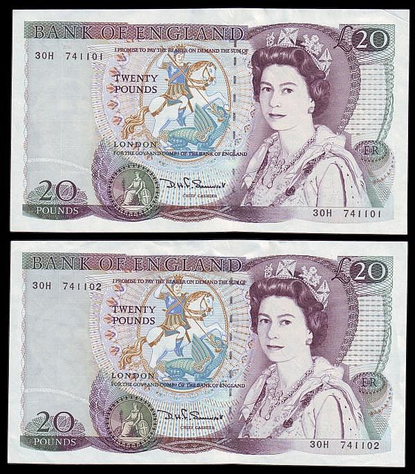 Twenty pounds Somerset B351 issued 1984, a consecutive pair series 30H 741101 & 30H 741102, Pick380d, EF