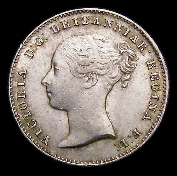 Threepence 1859 Obverse 1 ESC 2066 AU/UNC with a few tiny rim nicks