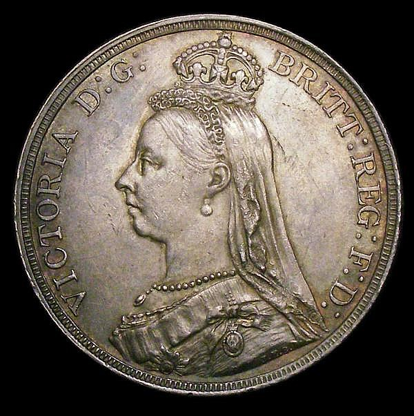 Crown 1887 ESC 296 EF/GEF and attractive toned with a thin scratch above the date