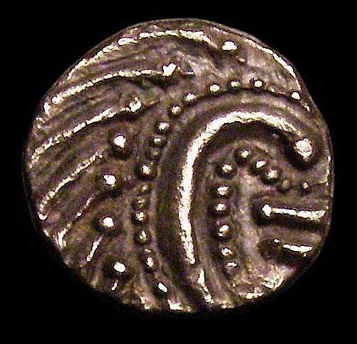 Saxon. Ar sceat. C, 695-740. Obv; Degenerated head enclosing bars. Rev; Standard. S 790a. Even dark tone. 0.99g. EF