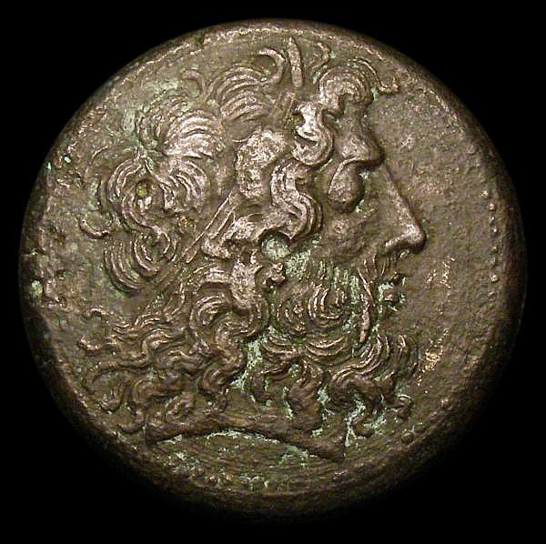 Ptolemy III Euergetes. C, 246-222 BC. Ae35. Alexandreia mint. Obv; Diademed head of Zeus-Ammon right. Rev; Eagle with closed wings standing left on thunderbolt; filleted cornucopia to left, XP monogram between legs. Svoronos 965. Dark tone and