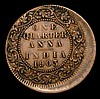 Mint Error - Mis-Strike India Quarter Anna 1903 struck around 10% off centre with about 3mm blank flan on the obverse b between 5 and 10 o'clock, Fine
