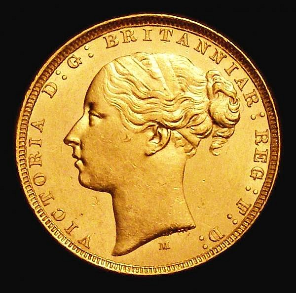 Sovereign 1882M S.3857B WW buried in truncation, Horse with Short tail, Small BP,  A/UNC and lustrous with some contact marks