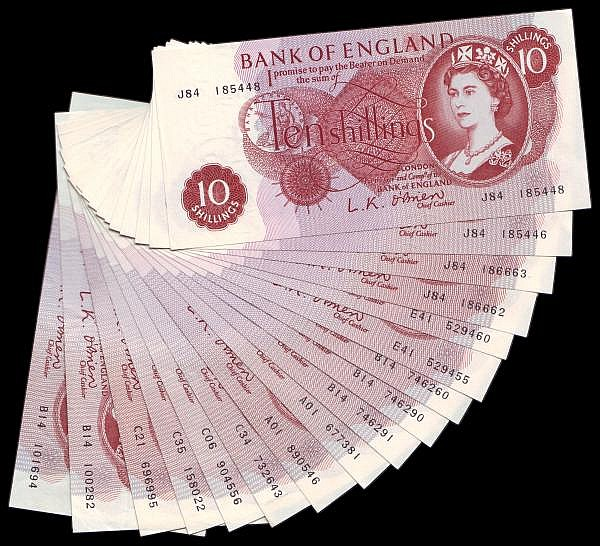 Ten Shillings O'Brien B286 (17) includes some consecutives and two A01 prefixes mostly EF