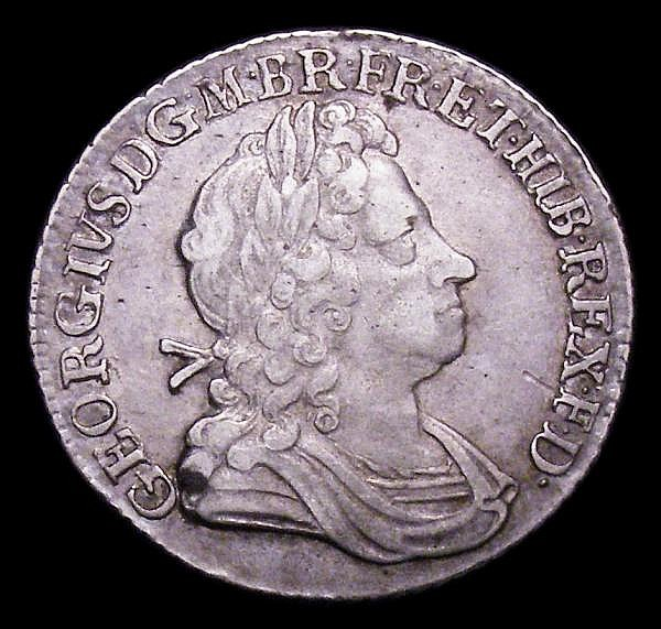Shilling 1723 SSC First Bust ESC 1176 VF