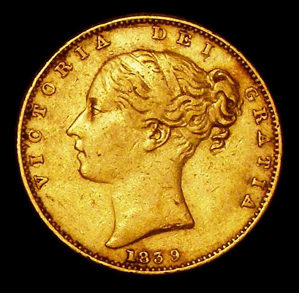 Sovereign 1839 Marsh 23 Good Fine, Very Rare