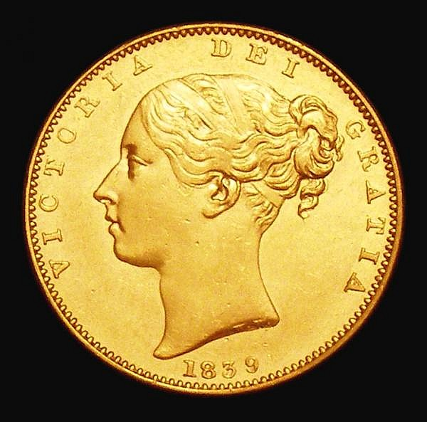 Sovereign 1839 Marsh 23 EF the obverse with some hairlines, Very Rare