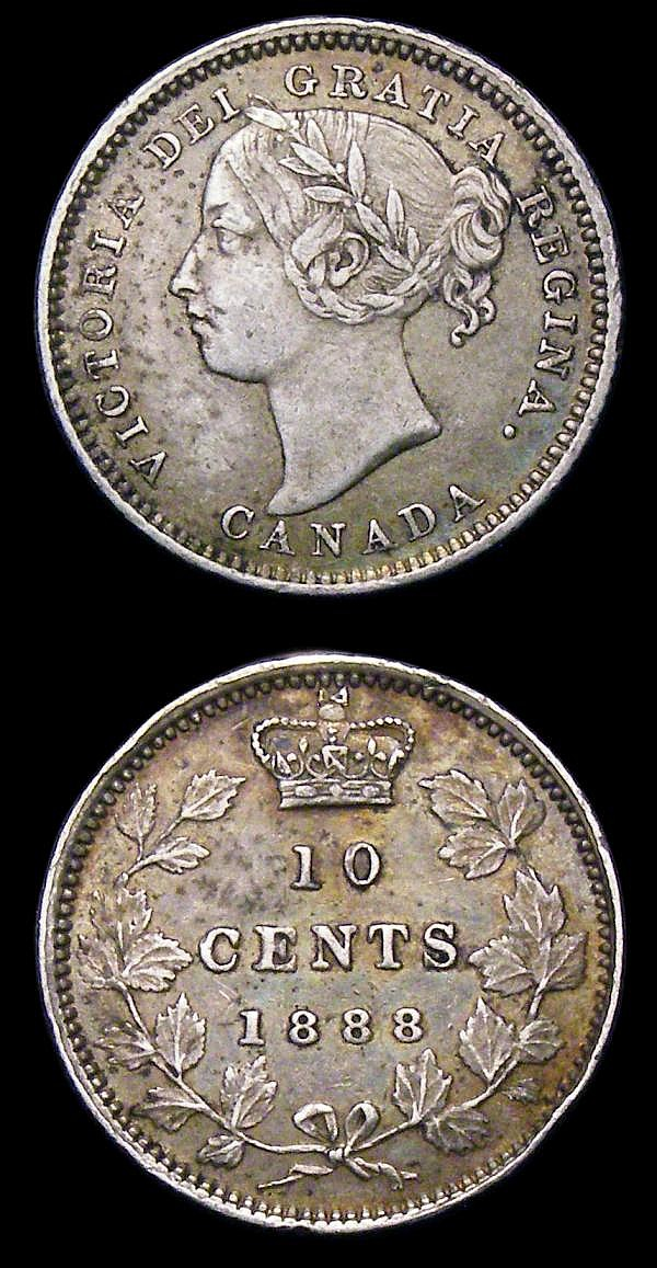 Canada 10 Cents (2) 1888 KM#3 VF nicely toned, 1892 KM#3 VF toned