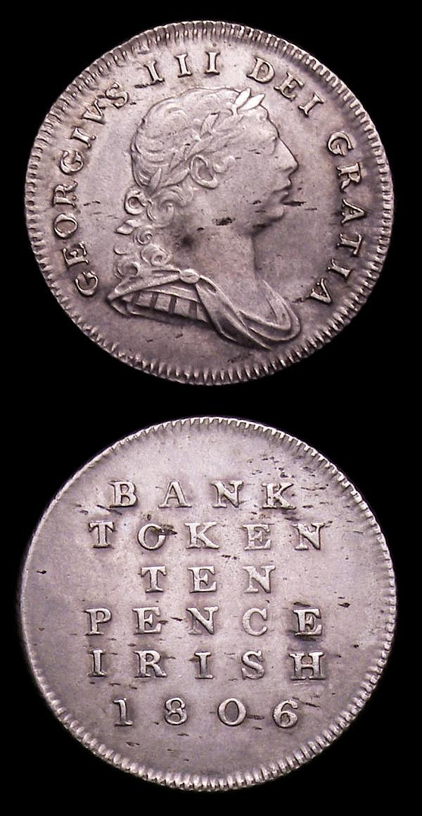 Ireland Ten Pence Bank Tokens (2) 1806 S.6617 NEF/EF with some light haymarking, 1813 S.6618 A/UNC and nicely toned, the obverse with an old scratch