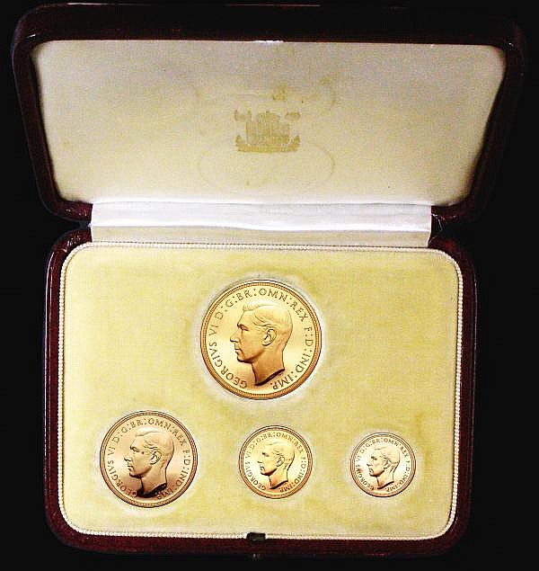 Proof Set 1937 (4 coins) Five Pounds to Half Sovereign nFDC the Five Pounds with some thin scratches on the obverse, the Two Pounds and Half Sovereign with small tone spots, UNC to FDC and retaining almost full mint brilliance, in the original case
