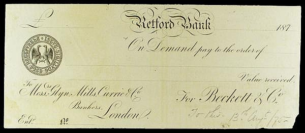 Retford Bank proof cheque dated 187x (1875) for Beckett & Co., eagle vignette at left, corner damage bottom right, mount marks reverse, GEF