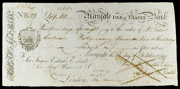 Margate Isle of Thanet Bank 14 day sight note dated 1799 series No.622 for 49-10, signed Francis Cobb & Son, ink cancelled, good Fine