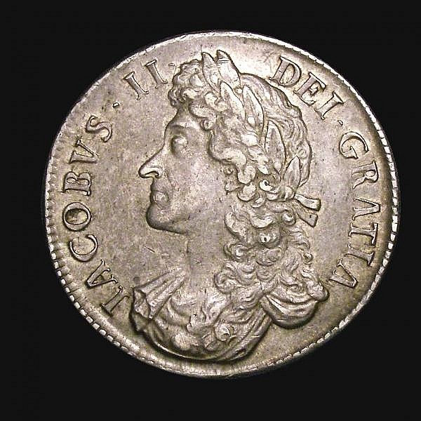 Crown 1687 TERTIO ESC 78 GVF and attractively toned, boldly struck the obverse and free from adjustment lines as often found on this series, comes with three old Spink tickets, one stating 'bought Spink 21/5/51 4'