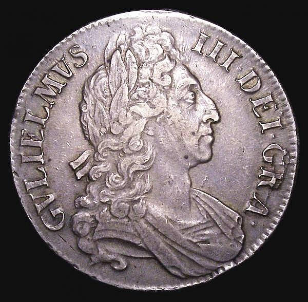 Crown 1696 Third Bust OCTAVO ESC 94, VF/About VF, Ex-Roderick Richardson, ESC states the same rarity as the first bust coin, but our archive database shows many times more examples of the First bust coin being offered, so probably rarer than stated
