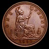 Penny 1860 Beaded Border Freeman 4 dies 1+A Bronzed Proof, 10.92 grammes, nFDC along with the original presentation box with label 'Bronzed Proof Impression of the new penny to be executed in white metal 1860. Presented to Mrs.Letts by L.C.Wyon Esq.