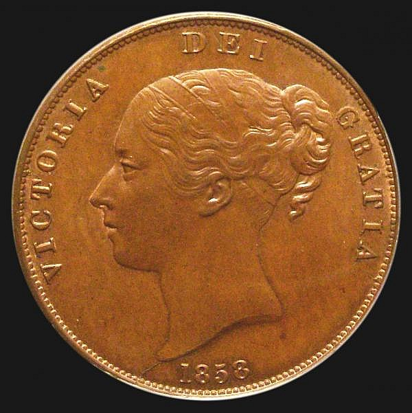 Penny 1858 No WW Peck 1518 Choice UNC with a hint of lustre, slabbed and graded LCGS 82, the joint finest known of 7 examples thus far recorded by the LCGS Population Report