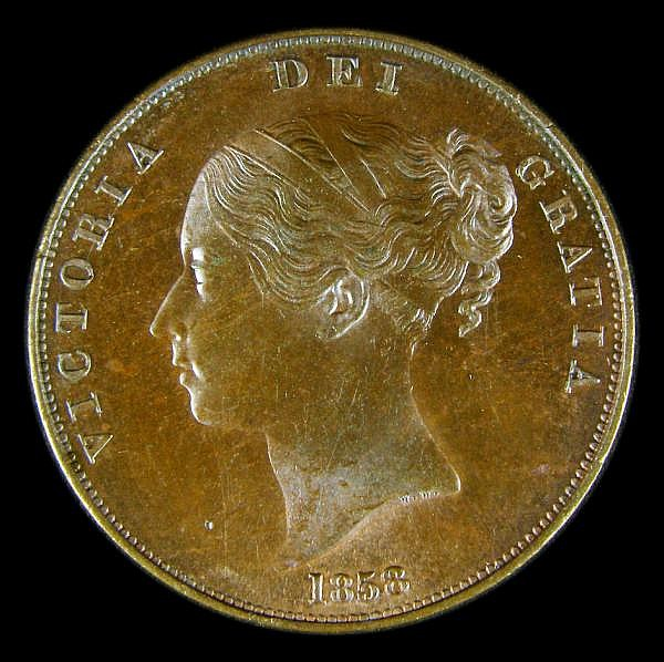 Penny 1858 8 over3 (now thought to be 8 over 2) Peck 1515 UNC with attractive toning over traces of lustre, slabbed and graded CGS 78