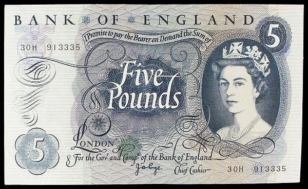 Five pounds Page B324 issued 1971 series 30H 913335, a scarce last series (only reported up to 41H so far), about EF