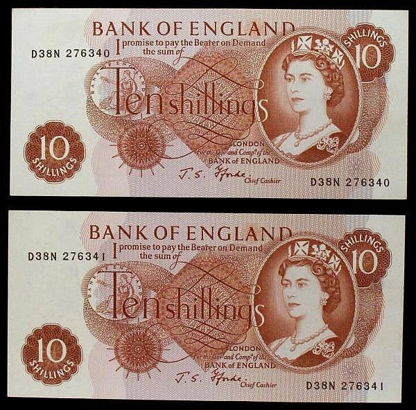 Ten shillings Fforde B310 issued 1967 (2) a consecutively numbered pair,  very last run D38N 276340 & D38N 276341, pressed GEF to about UNC