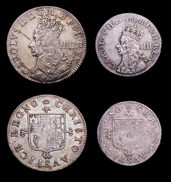 Maundy Set Charles II undated Maundy ESC 2365 type B Fourpence NVF, Threepence VF/NVF with some weakness on the reverse, Twopence Good Fine with an edge nick, Penny GF/NVF