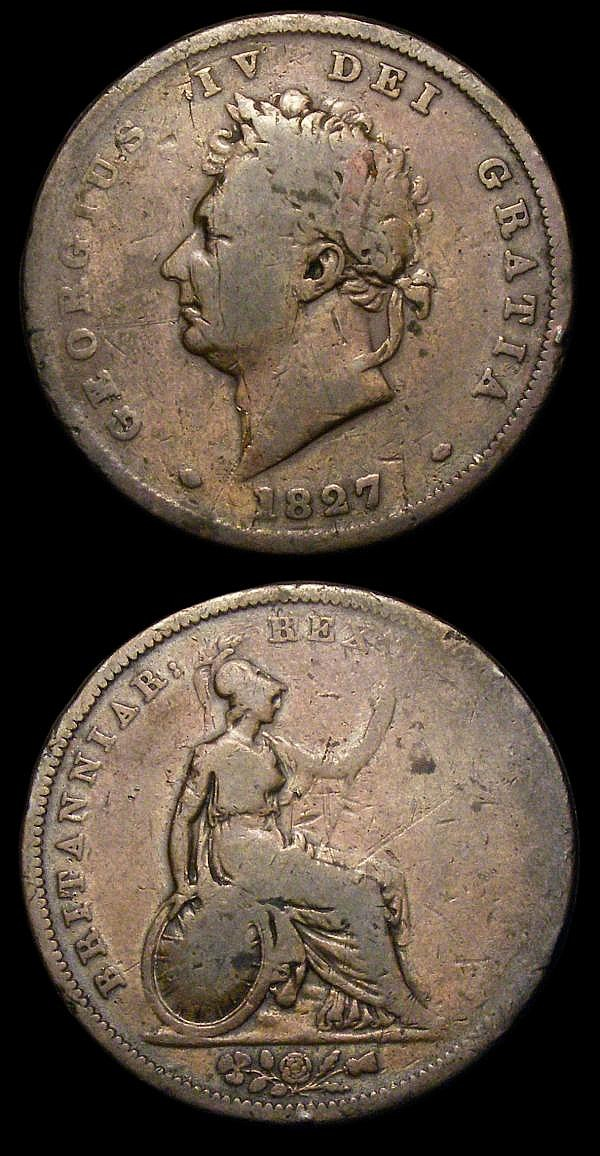Pennies (2) 1827 Peck 1430 VG with some scratches, 1843 REG No Colon Peck 1485 VG with some old digs, both Very Rare
