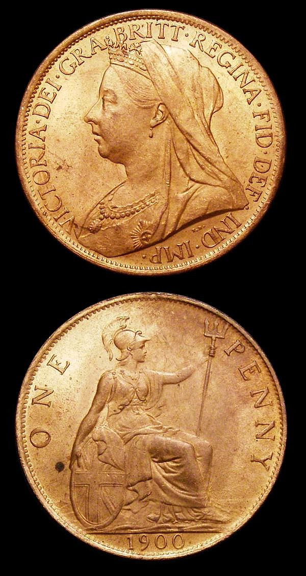 Pennies (2) 1903 Freeman 158 dies 1+B UNC with around 80% lustre, with a contact mark on the neck, otherwise sharply struck and pleasing, 1900 Freeman 153 dies 1+B Lustrous UNC with a couple of spots on the reverse