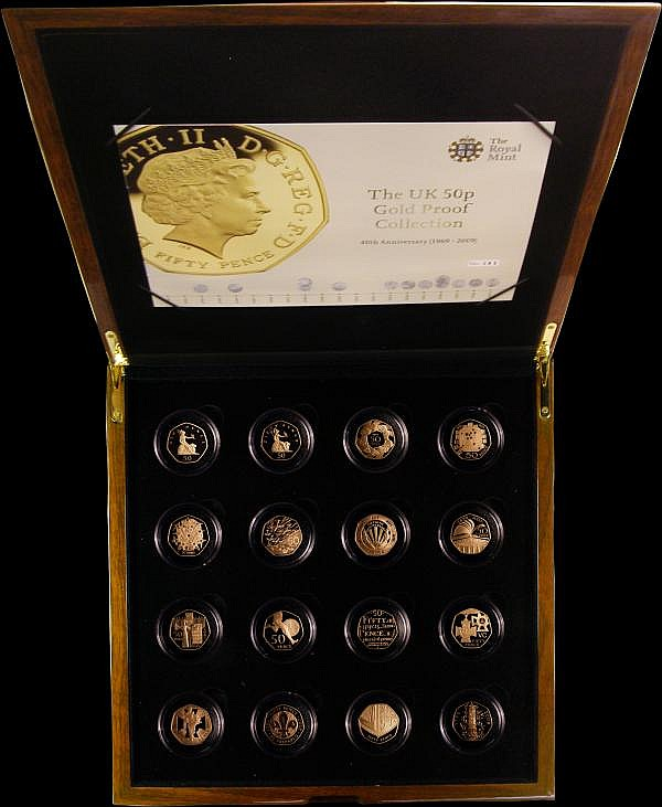 Fifty Pence 2009 a 16-coin set featuring all of the previously issued designs now all dated 2009, all Gold Proofs (S.PG50PCS) only 125 sets issued, this being set number 83, numbered on the outside of the box, FDC in the impressive box of issue with