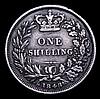 Shilling 1848 8 over 6 ESC 1294 Fine with grey tone, rare